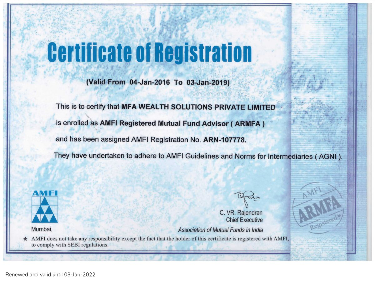 MFA Wealth Solutions ARN Certificate